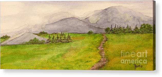 Paintings Acrylic Print featuring the painting Morning Fog by Regan J Smith