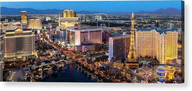 Las Vegas Replica Eiffel Tower Acrylic Print featuring the photograph Las Vegas Skyline At Dusk by Sylvain Sonnet