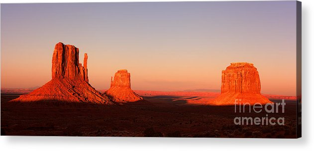 Monument Acrylic Print featuring the photograph Monument valley sunset pano by Jane Rix