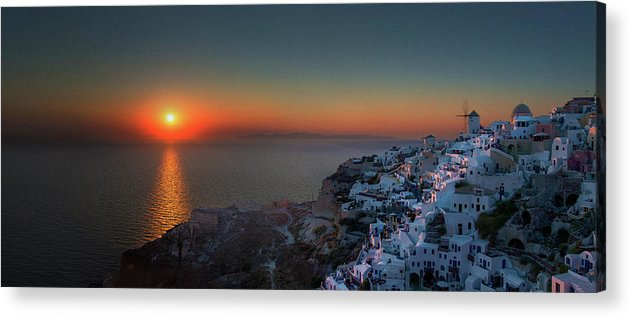 Tranquility Acrylic Print featuring the photograph Sunset In Santorini, Greece by Ed Freeman