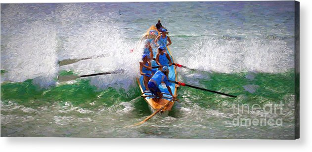 Surfer Acrylic Print featuring the photograph Surfing lifesaving boat by Sheila Smart Fine Art Photography