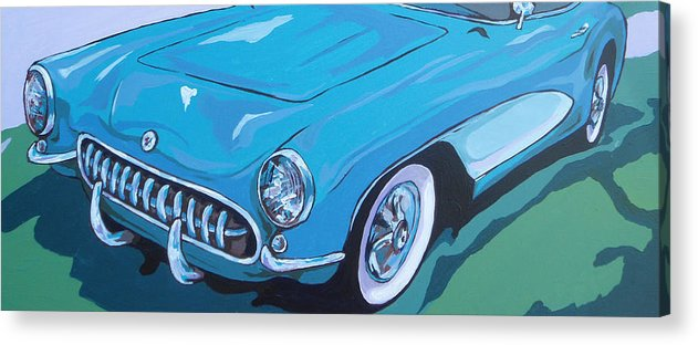 Car Acrylic Print featuring the painting '53 Corvette by Sandy Tracey