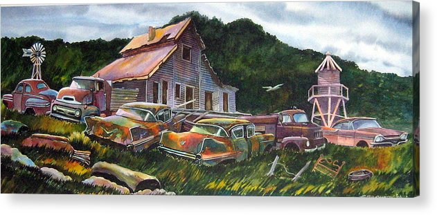 Cadillacs Acrylic Print featuring the painting Cadillac Ranch by Ron Morrison