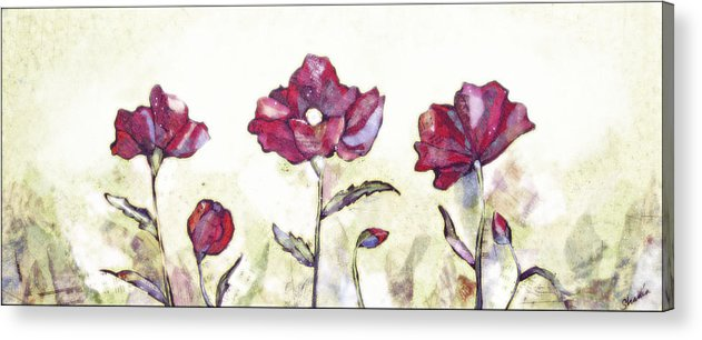 Rural Acrylic Print featuring the painting Delicate Poppy I by Shadia Derbyshire