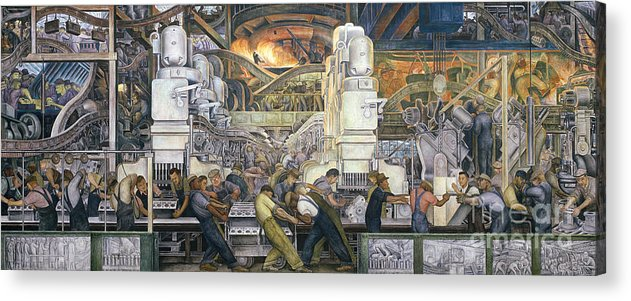 Machinery; Factory; Production Line; Labour; Worker; Male; Industrial Age; Technology; Automobile; Interior; Manufacturing; Work; Detroit Industry Acrylic Print featuring the painting Detroit Industry  North Wall by Diego Rivera
