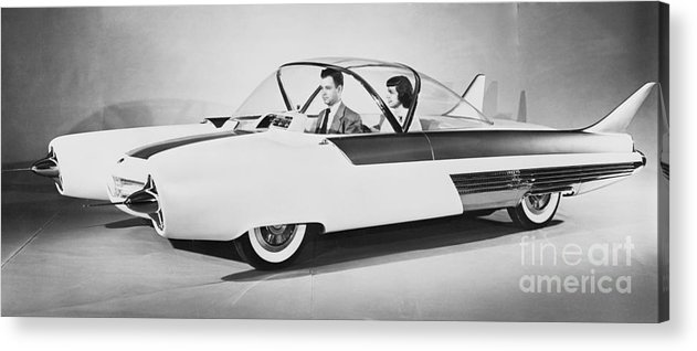 People Acrylic Print featuring the photograph Fords Future Experimental Car by Bettmann