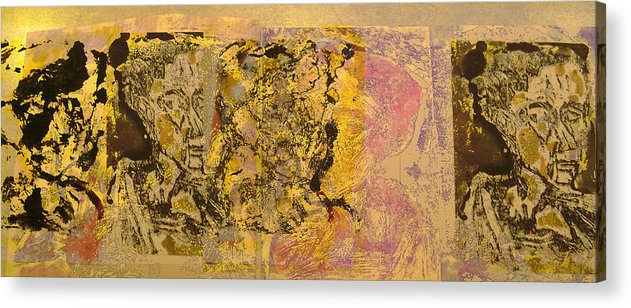 Collage Acrylic Print featuring the painting Byond The Border by Noredin Morgan