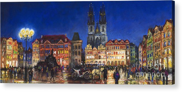 Pastel Acrylic Print featuring the painting Prague Old Town Square Night Light by Yuriy Shevchuk