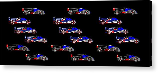 9 Audis And 9 Peugeots Acrylic Print featuring the digital art 9 Audis and 9 Peugeots by Asbjorn Lonvig
