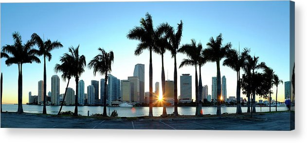 Downtown District Acrylic Print featuring the photograph Miami Skyline Viewed Over Marina by Travelpix Ltd