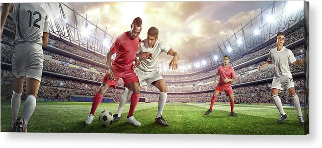 Soccer Uniform Acrylic Print featuring the photograph Soccer Player Tackling Ball In Stadium by Dmytro Aksonov