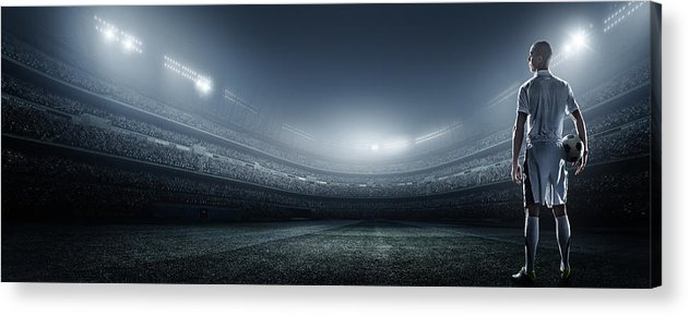 Soccer Uniform Acrylic Print featuring the photograph Soccer Player With Ball In Stadium by Dmytro Aksonov