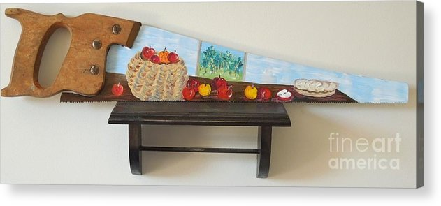 Basket Acrylic Print featuring the mixed media Still Life with Apples - Sold by Judith Espinoza
