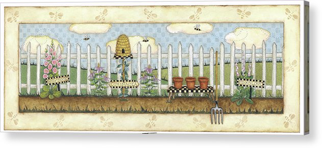 A White Picket Fence With A Bee Hive And Holly Hocks In Front Acrylic Print featuring the painting Beehive Fence by Robin Betterley