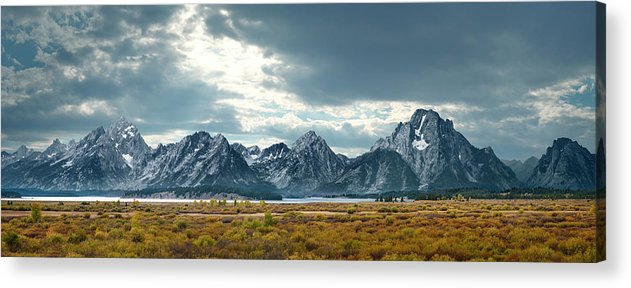 Scenics Acrylic Print featuring the photograph Grand Tetons In Dramatic Light by Ed Freeman