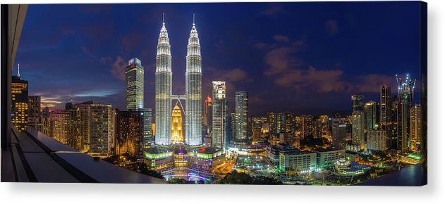 Panoramic Acrylic Print featuring the photograph Panoramic View Of Petronas Twin Towers by Www.imagesbyhafiz.com