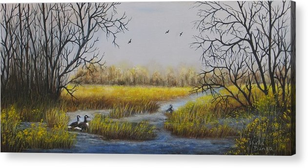 Landscape Acrylic Print featuring the painting Autumn Hideaway by Sheila Banga