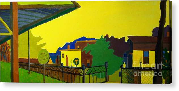 Landscape Acrylic Print featuring the painting Trainstop by Debra Bretton Robinson