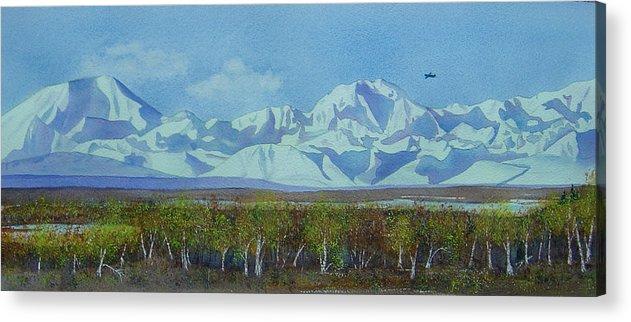 Denali Acrylic Print featuring the painting Denali Park Alaska by Teresa Boston