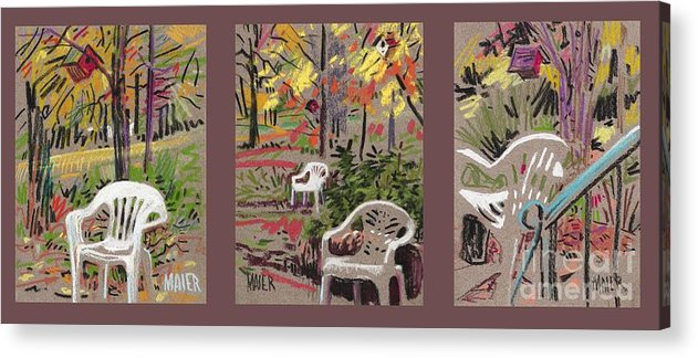 Pastel Acrylic Print featuring the drawing White Chairs and Birdhouses 1 by Donald Maier