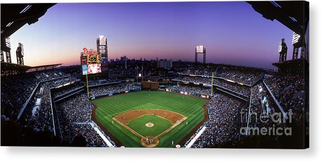Panoramic Acrylic Print featuring the photograph Montreal Expos V Philadelphia Phillies by Jerry Driendl