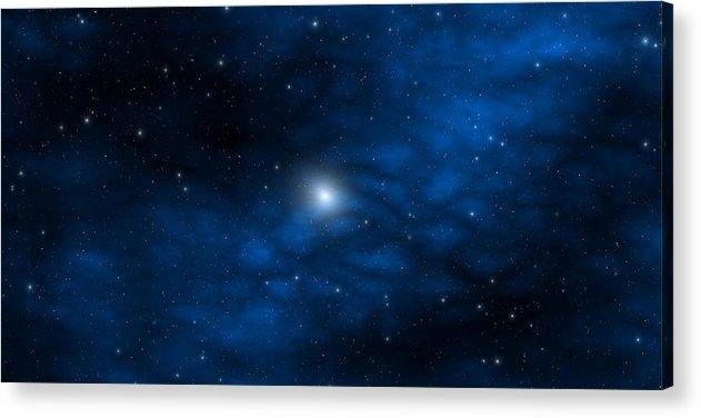Space Acrylic Print featuring the digital art Blue Interstellar Gas by Robert aka Bobby Ray Howle