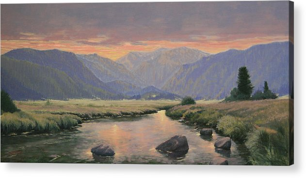 Landscape Acrylic Print featuring the painting 080818-1224 Day Slipping Into Dusk by Kenneth Shanika