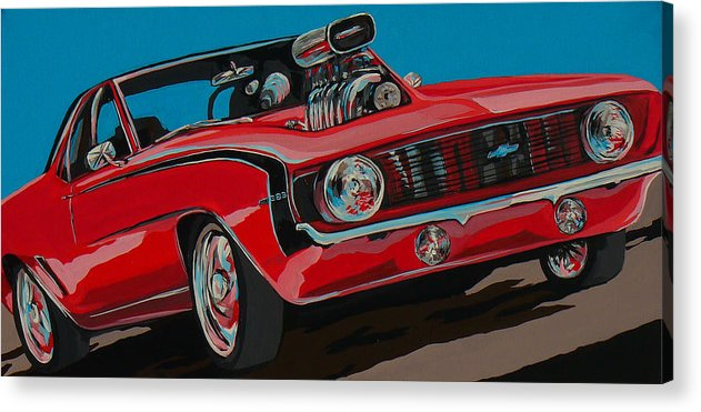 Camaro Acrylic Print featuring the painting Blwn6t9 by Sandy Tracey