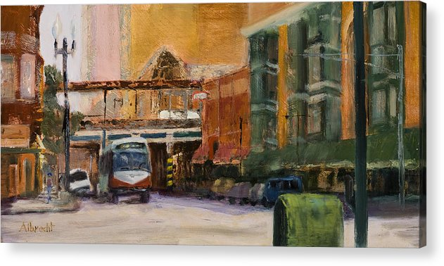 Bus Acrylic Print featuring the painting Bryn Mawr Edgewater El Stop by Nancy Albrecht