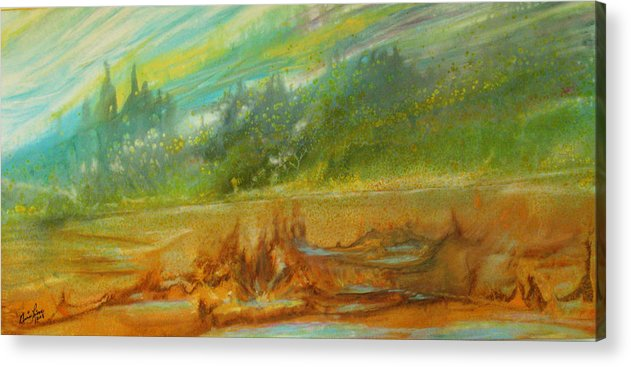 Contemporary Landscape Acrylic Print featuring the painting Exotisme by Annie Rioux