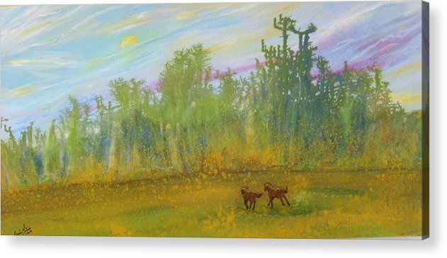 Contemporary Horse Acrylic Print featuring the painting Le Fantastique by Annie Rioux