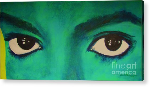 King Of Pop Acrylic Print featuring the painting Michael Jackson - Eyes by Eric Dee