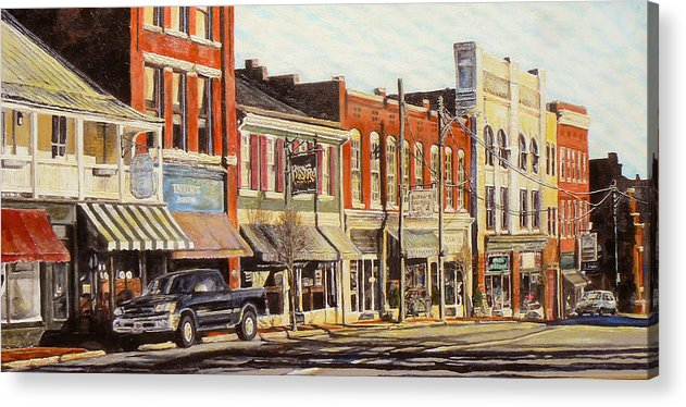 City Scene Acrylic Print featuring the painting Sunday Morning by Thomas Akers