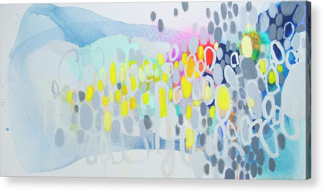 Abstract Acrylic Print featuring the painting Ten O'Clock Flight by Claire Desjardins