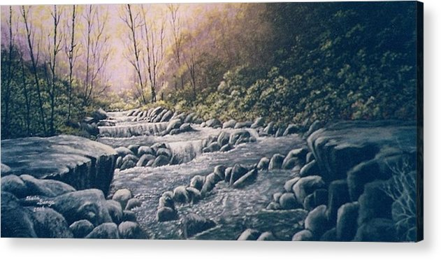 Landscape Acrylic Print featuring the painting Waterfall by Sheila Banga