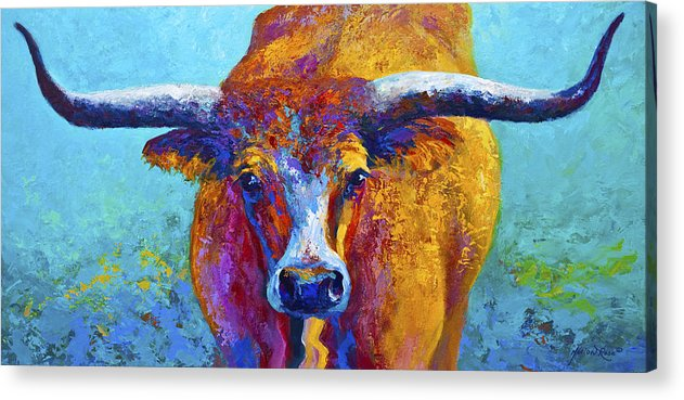 Western Paintings Acrylic Print featuring the painting Widespread - Texas Longhorn by Marion Rose