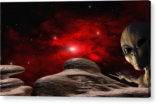 Space Acrylic Print featuring the digital art Alien Planet by Robert aka Bobby Ray Howle