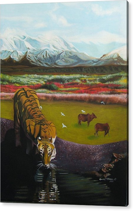 Tiger Acrylic Print featuring the painting Tiger by Howard Stroman