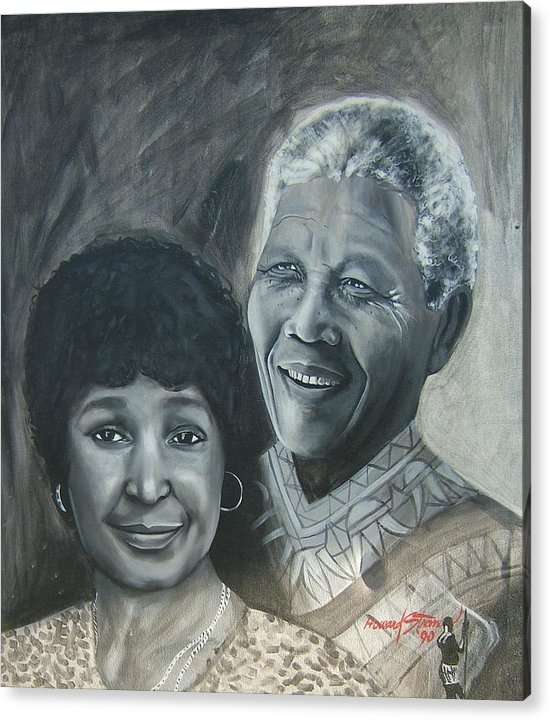 From Black & White Series Acrylic Print featuring the painting Nelson And Winnie by Howard Stroman