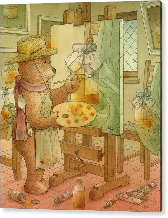 Artist Painting Bear Animals Honey Still-life Acrylic Print featuring the painting Artist by Kestutis Kasparavicius