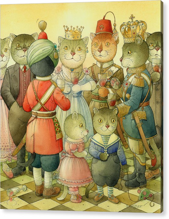Cats Acrylic Print featuring the painting Coctail Party by Kestutis Kasparavicius