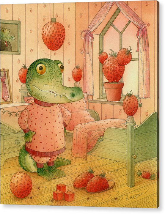 Strawberry Childrens Room Dream Acrylic Print featuring the painting Strawberry Day by Kestutis Kasparavicius
