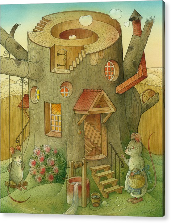 Landscape Mouse Mystique House Tree Acrylic Print featuring the painting Wrong World by Kestutis Kasparavicius