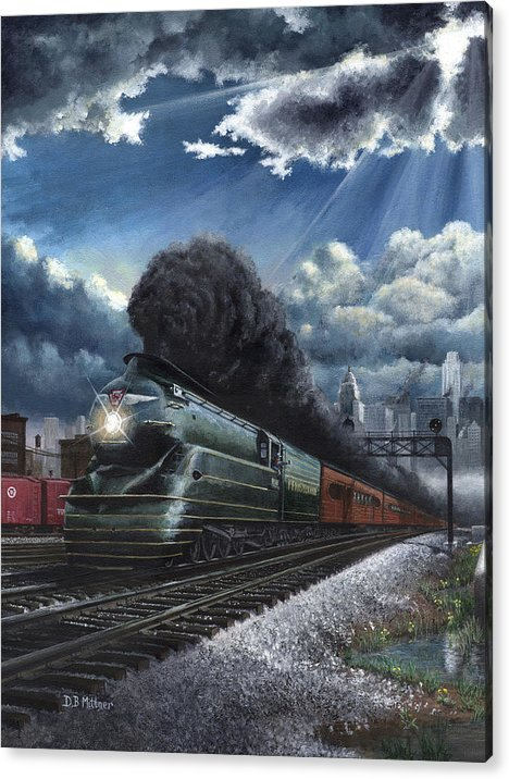 Train Acrylic Print featuring the painting Eastbound Broadway Limited by David Mittner