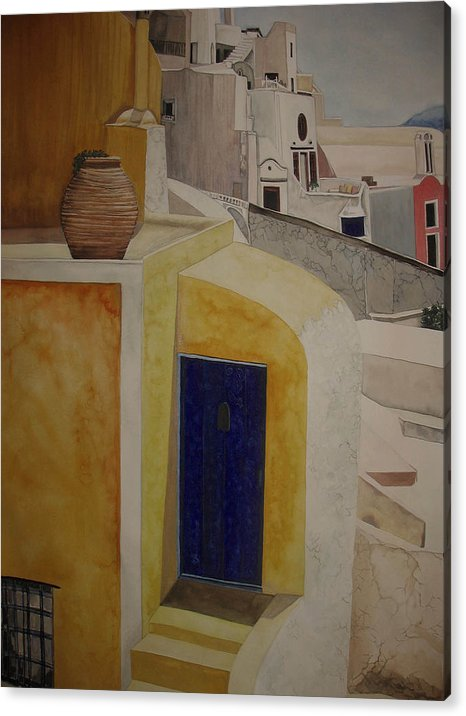 Watercolor Acrylic Print featuring the painting Greekscape 2 by Caron Sloan Zuger