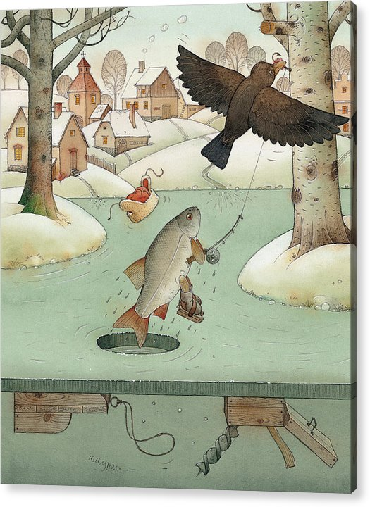 Landscape Winter Fishing Crow Acrylic Print featuring the painting Fishing by Kestutis Kasparavicius