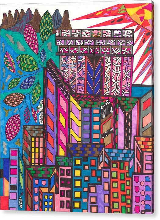 N.y. Acrylic Print featuring the drawing The city that never sleeps by Eric Devan