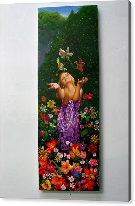 Joy/young Girl/ Flowers/outdoors/nature Acrylic Print featuring the painting Joyeuse by RC Bailey