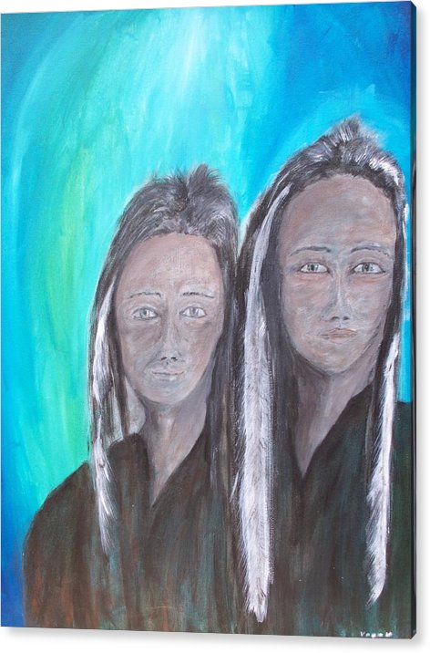 Native American Acrylic Print featuring the painting Ghost Twins by Larry Verch