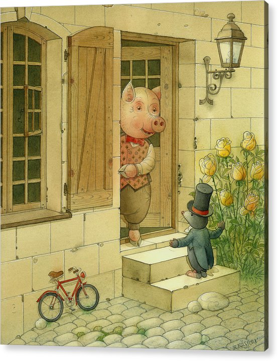 Singer Pig Mole Street Town Roses Animals Acrylic Print featuring the painting Singing Piglet by Kestutis Kasparavicius